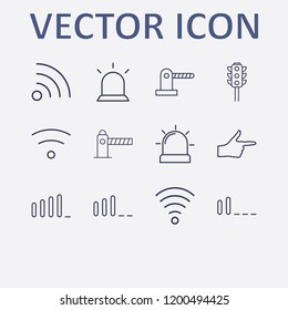 Outline 12 signal icon set. alarm flasher, wifi, parking barrier, signal bars, traffic light and finger right vector illustration