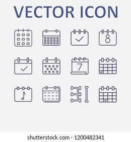 Outline 12 week icon set. calendar check and calendar vector illustration