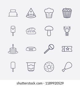 Outline 16 delicious icon set. cake, chicken leg, movie ticket, lollipop, watermelon, donut, ice cream, dog food bowl, mushroom, popcorn, toster, bread, yogurt and lobster vector illustration
