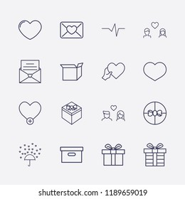 Outline 16 love icon set. heart, gift, love message, heart with hand, love rain, box, add heart, lovers, mail love and heart impulse vector illustration