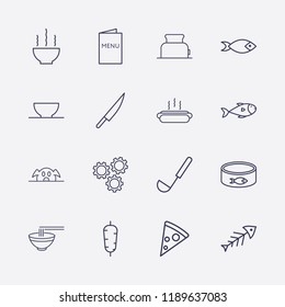 Outline 16 lunch icon set. toster, hot dog, menu, pork, bowl, fish, ladle, doner food, knife, setting, fish canned and pizza vector illustration