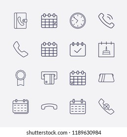 Outline 16 number icon set. calendar check, calendar with birthday cake, calendar, phone book, handset remove, clock, award medal, handset, handset down and card withdrawal vector illustration