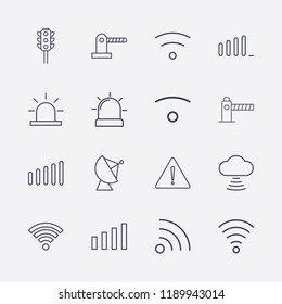 Outline 16 signal icon set. wifi, satellite antenna, warning, cloud signal, alarm flasher, traffic light, signal bars, wi fi signal and parking barrier vector illustration