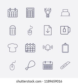Outline 16 table icon set. chef hat, calculator, download document, lobster, clipboard, teacup, toster, salt, bell, chicken leg, stationery knife, mouse and calendar vector illustration