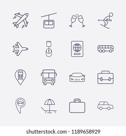 Outline 16 vacation icon set. bus, car, train location, airplane, online book order, foreign passport, cheers, funicular, car location, suitcase, beach and skiing vector illustration