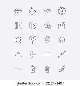 Outline 20 nature icon set. wave, eco factory, star fall, play, soldier knife and road vector illustration