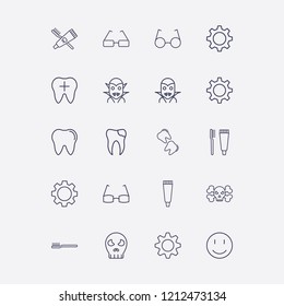 Outline 20 teeth icon set. toothbrush and toothpaste, smile, tooth paste, broken tooth, halloween skeleton and gear vector illustration