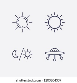 Outline 4 ray icon set. ufo, moon and sun and sun vector illustration
