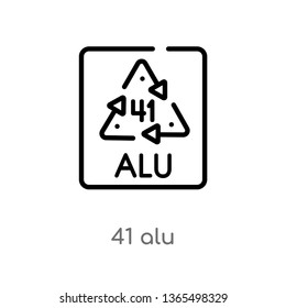 outline 41 alu vector icon. isolated black simple line element illustration from user interface concept. editable vector stroke 41 alu icon on white background