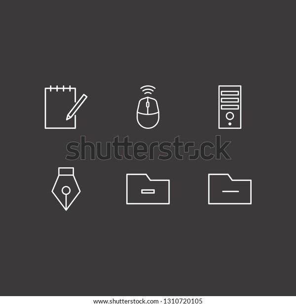 Outline 6 Desktop Icon Set Pc Stock Vector (Royalty Free