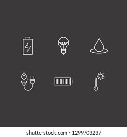 Outline 6 environment icon set. thermometer, eco lamp, drop and leaf energy vector illustration
