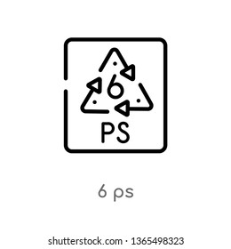 outline 6 ps vector icon. isolated black simple line element illustration from user interface concept. editable vector stroke 6 ps icon on white background