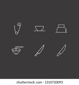 Outline 6 utensil icon set. bowl, toster, knife and safety pin vector illustration