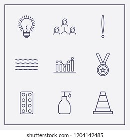 Outline 9 blue icon set. exclamation, chart, wave and network vector illustration