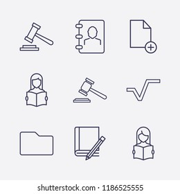 Outline 9 book icon set. phone book, square root, book and pencil, gavel, document add, read the book and folder vector illustration