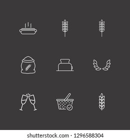 Outline 9 bread icon set. hot dog, spike, toast and toster vector illustration