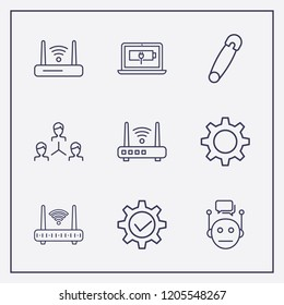 Outline 9 connect icon set. gear check, chat bot, network and laptop energy vector illustration