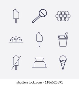 Outline 9 delicious icon set. lollipop, honeycomb, pork, yogurt, forbidden ice cream, ice cream and toster vector illustration