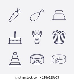 Outline 9 delicious icon set. toster, chicken leg, fish canned, lobster, birthday cake, carrot, popcorn, cone and cheese vector illustration