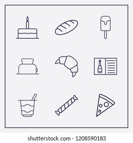 Outline 9 delicious icon set. yogurt, toster, birthday cake and croissant vector illustration