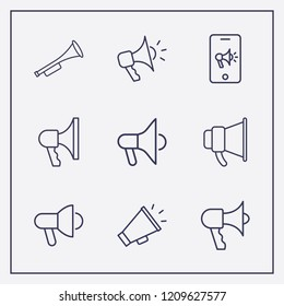 Outline 9 horn icon set. megaphone, trumpet and phone with megaphone vector illustration