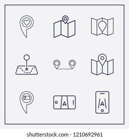 Outline 9 location icon set. smartphone map, location cash withdrawal, distance map and love location vector illustration