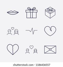 Outline 9 love icon set. love message, heart impulse, gift, lovers, lips and broken heart vector illustration
