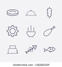 Outline 9 lunch icon set. plate, toster, bowl, setting, fish, chicken leg, doner food and dish vector illustration