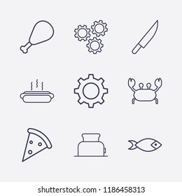 Outline 9 lunch icon set. pizza, toster, fish, knife, setting, chicken leg, hot dog and crab vector illustration