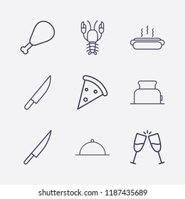 Outline 9 lunch icon set. hot dog, pizza, toast, knife, chicken leg, dish, toster and lobster vector illustration