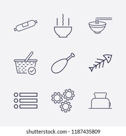 Outline 9 lunch icon set. sausage, check basket, chicken leg, fish, setting, toster, bowl and menu vector illustration