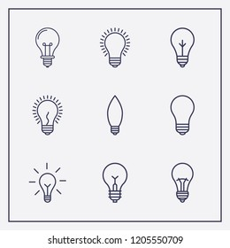Outline 9 magnificent icon set. lamp vector illustration
