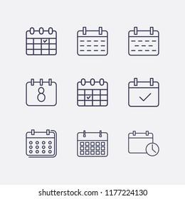 Outline 9 month icon set. calendar check, calendar and calendar time vector illustration