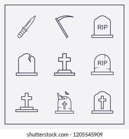 Outline 9 murder icon set. arm knife, halloween grave and halloween scythe vector illustration