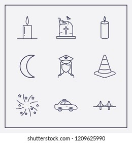 Outline 9 night icon set. road traffic, candle, fireworks and police vector illustration