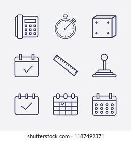 Outline 9 number icon set. calendar check, calendar, home phone, ruler, stopwatch, dice and speed shifter vector illustration