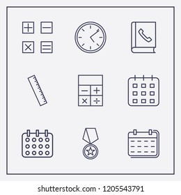 Outline 9 number icon set. award medal, clock, calendar and telephone book vector illustration
