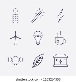 Outline 9 plant icon set. tea, bell, lampshade, windmill, eco lamp, accumulator, leaf, magic stick and energy vector illustration