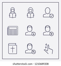 Outline 9 reading icon set. user play, bible, download user and hand scroll vector illustration