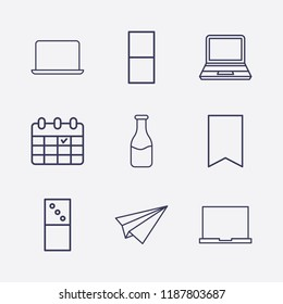 Outline 9 table icon set. milk bottle, laptop, calendar, paper airplane, domino and bookmark vector illustration
