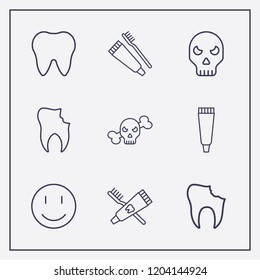 Outline 9 teeth icon set. smile, broken tooth, tooth paste and tooth vector illustration