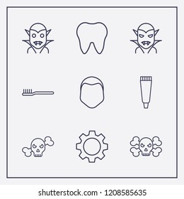 Outline 9 teeth icon set. human face, halloween vampire, tooth paste and tooth vector illustration