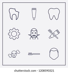 Outline 9 teeth icon set. broken tooth, tooth paste, halloween skeleton and toothbrush and toothpaste vector illustration
