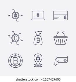 Outline 9 trade icon set. ethereum network, bitcoin, ethereum with book, bitcoin bag, network bitcoin, ethereum card, hand with money card, ethereum location and shopping basket vector illustration
