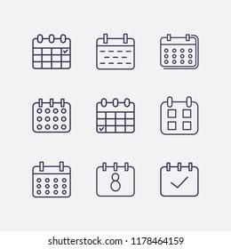 Umriss 9 Wochen Icon Set. Kalenderkontrolle und Kalendervektorgrafik
