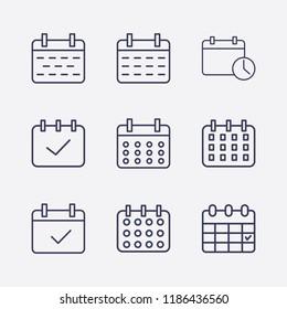 Outline 9 week icon set. calendar check, calendar time and calendar vector illustration
