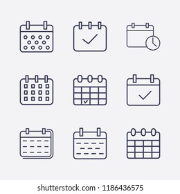 Outline 9 week icon set. calendar check, calendar and calendar time vector illustration
