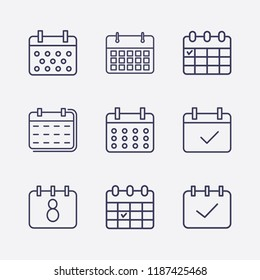Outline 9 week icon set. calendar check and calendar vector illustration