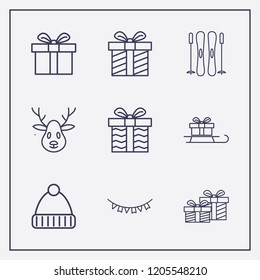 Outline 9 winter icon set. winter hat, deer, gift and sled in gift vector illustration
