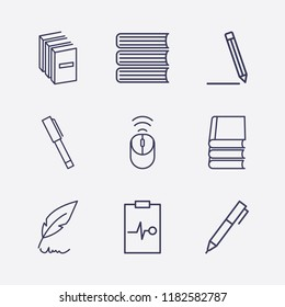 Outline 9 writing icon set. book, wifi mouse, feather pen, medicine clipboard and pen vector illustration